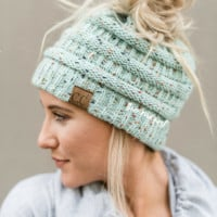 Messy Bun Confetti Knitted Beanie - Mint
