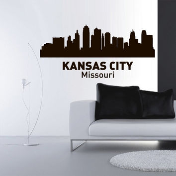 Wall Vinyl Sticker Decals Decor Art Bedroom Design Mural Words Sign Town City Skyline Kansas City Missouri (z3045)
