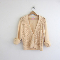 vintage light peach sweater. crochet knit cardigan sweater. open floral knit.