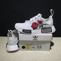 Best Online Sale OFF WHITE x Adidas Consortium NMD R1 Flower Boost Sport Running Shoes Classic Casual Shoes Sneakers