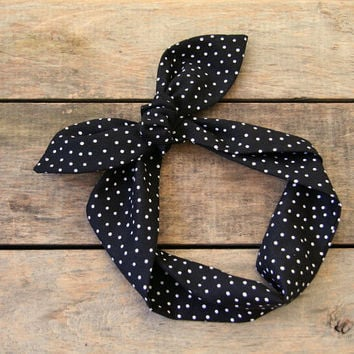 black and white polka dot headscarf, retro tie up headband adjustable, spring summer fall, knotted headband, stocking stuffer