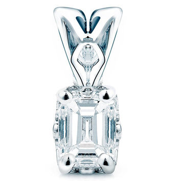 1/3 CT Solitaire Emerald Cut Diamond Solitaire Pendant Necklace in 14K White Gold