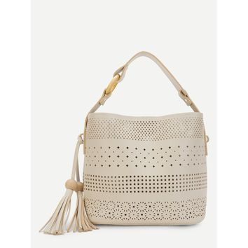 White Hollow Out Tassel Decor Tote Bag