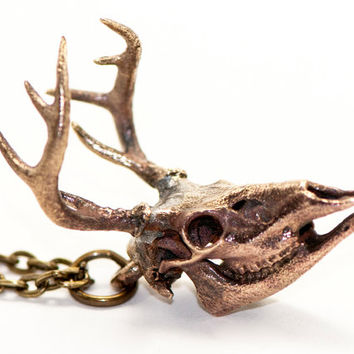 Deer Necklace Bronze Deer Skull 3d Printed Deer Head