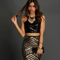 Sale-black Sequin Crop Top