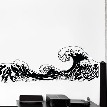 Vinyl Wall Decal Japan Waves Japanese Ocean Sea Marine Cozy Big Decor Unique Gift z4447