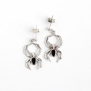 Vintage Sterling Silver Black Enamel Spider Earrings - Pierced Post Dangle Drop Figural 8 Leg Arachnid Critter Statement Jewelry with Backs