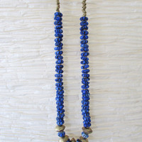 Blue Indigo Long Boho Necklace, Bohemian Ethnic Colorful Women Jewelry
