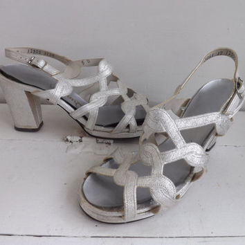Silver Platform Sandals Disco Heels Shoes Open Toe Summer Qualicraft 5 B Metallic