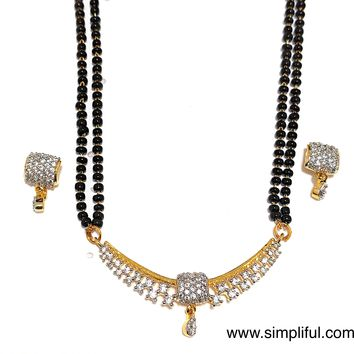 Arc Sqaure CZ stone Pendant Mangalsutra with Earring - Double Chain - Long