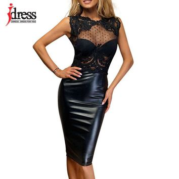 IDress Summer 2017 Latex New Robe Femme Sexy Sheer Lace Dress Open Back Patchwork Knee Length Bodycon Evening Party Black Dress