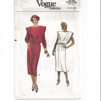 Vogue 9129 Pattern for Misses' Dress, Size 8, 10, 12, from 1980s, FACTORY FOLDED, UNCUT, Loose Fitting, Vintage Pattern, Home Sewing Pattern