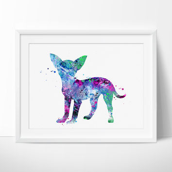 Chihuahua Watercolor Print,  Chihuahua Art Print, Watercolor Print Chihuahua Home Decor Poster, Dog Animal Painting (121)