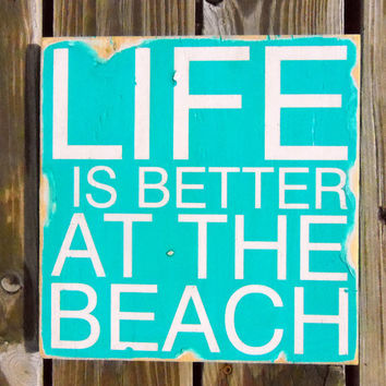 Typography Wall Art Life is Better at the Beach Wood by 13pumpkins