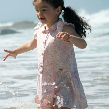 White & Pink Floral Print Drop Waist Casual Dress for Spring & Summer Wear (Girls 2T to Size 8)