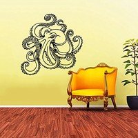 Octopus Wall Decal Tentacles Sprut Kraken Ocean Sea Animal Wall Vinyl Decals Sticker Home Interior Wall Decor for Any Room Housewares Mural Design Graphic Bedroom Wall Decal Bathroom Window Decals (5836)