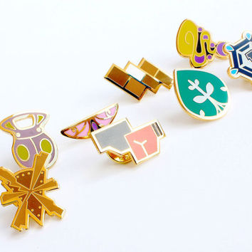 Complete set of 8 Kalos Gold Metal Pokemon Gym Leader Badges Pins | Unique High Quality Lapel/Collectible Gift GO-FANS!