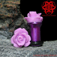 Purple Rose Flower Ear Plugs, Gauged Ears 6g, 4g, Single Flare, Ear Gauges, Wedding Plugs, Purple Flowers, Rose Plugs, Pierced Eye Design