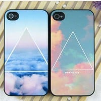 Beautiful Geometric Triangle Cloud Matte Phone Cover Case For IPhone 4/4s/5
