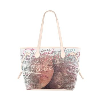 Levi Thang Half Face Vintage Letters Clover Canvas Tote Bag Ivory