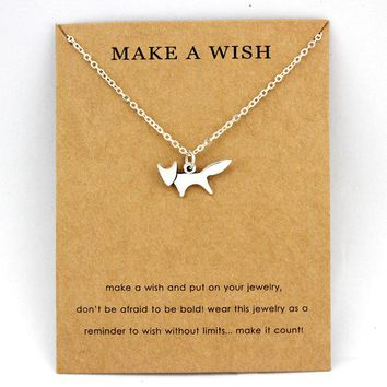 Fox Animal Pendants Necklaces Footprints Paw Dragonfly Charm Women Men Girls Boy Unisex Fashion Trendy Jewelry Best Friend Gift