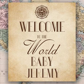 Custom World Map Welcoming to the World Baby Shower Backdrop (ANY TEXT/COLOR) - C0214