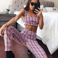 Pink Plaid Crop Top & Trousers Set