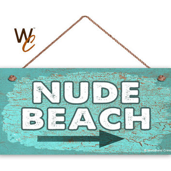 "Beach Sign, Fun NUDE Beach Sign, Teal Weathered Beach Decor, Weatherproof, 5"" x 10"" Sign, Wall Plaque, Fun Nautical Sign, Made To Order"
