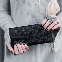 Floral Tooled Leather Wallet - Black