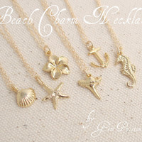 Gold Beach Charm Necklace/You choose Charm/Gold Shark Tooth/Gold Anchor/Gold Starfish/Gold Shell/Gold Anchor/Gold Sea Horse/Gold Plumeria