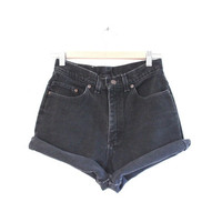 high waisted denim shorts - 90s grunge high waisted black denim shirts - black denim high waisted shorts - size 9