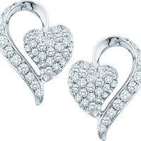Diamond Fashion Earrings in 14k White Gold 1 ctw