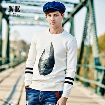 Men's Fashion Round-neck Hoodies Pattern England Style Cotton Long Sleeve T-shirts [7951185923]