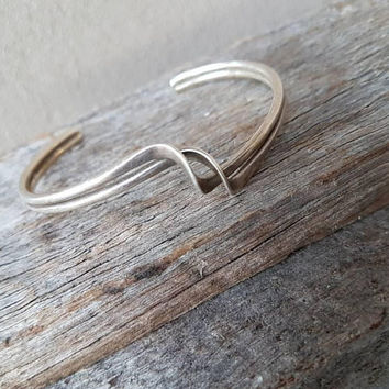 Mid Century Modern Twisted Cuff Bracelet, Sterling Silver , Modernist Bangle, Gifts For Her