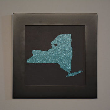 State Cut Out, Glitter, State Cut Out Framed, Cutout Framed, State Framed, Hometown Love, State Cutout, 8 by 8 Frame