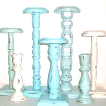 7 Shabby Chic Distressed Beach Themed Candle Holders Robins Egg Blue, Sea Foam Green & Vintage White