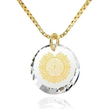 """""""The Lord's Prayer"""" KJ Version, 24k Gold Plated Necklace, Cubic Zirconia"""