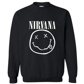 2016 autumn winter Hoodies Sweatshirts men Hoodies Hip Hop nirvana smile face letters printed Grey black Hoody Pullover ding