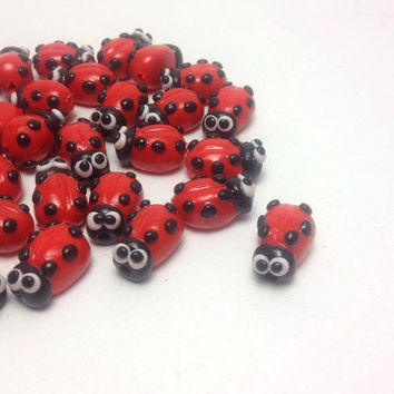 Ladybug Beads, Polymer Clay Beads, Handmade Beads, Craft Supplies, Jewelry Making, Fimo Beads, Pack of 10 and/or 30.