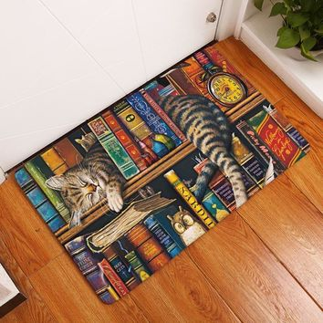 Homing in Front of Entrance Door Mats Colorfast Cute Funny Kitten Cartoon Cats Carpets Kids Bedroom Bedside Foot Pads Decor