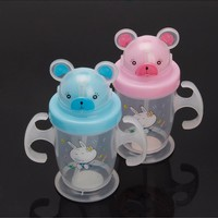 Cute Durable Children Baby Straw Cup Drink Bottles Sippy Cups Handles 200ML