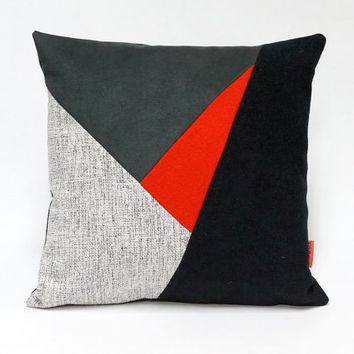 "Modern Geometric Patchwork Pillow Cover - upholstery fabric cushion cover - 16""x16"""