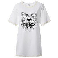 Kenzo Tide brand women's new tiger head letter printed round neck dress White