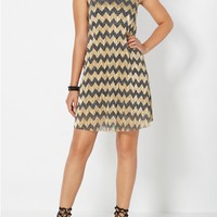Shimmering Chevron Tent Dress