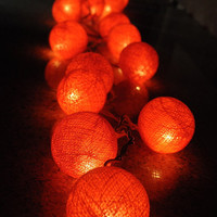 20 x orange color cotton ball Bali string light patio outdoor decoration deco room bedroom wedding patio party function light