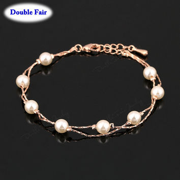 Anti Allergy Charm Bracelets & Bangles For Women 18K Rose Gold Plated Fashion Brand Vintage Simulated Pearl Beads Jewelry DWH169