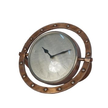 Metal Table Clock With Rivet Ring Design, Copper