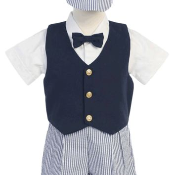 Boys Navy Blue Vest & Seersucker Shorts Dressy Set w. Cap 6m-4T