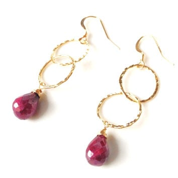 Genoa Hammered Gold Oval Drop Earrings
