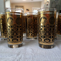 Black and Gold Prudential Rock of Gilbraltar Libbey Glass Set